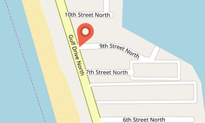 Map of Gulf Drive Cafe goes to google maps.