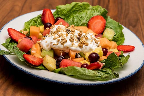 fruit yogert and nut salad